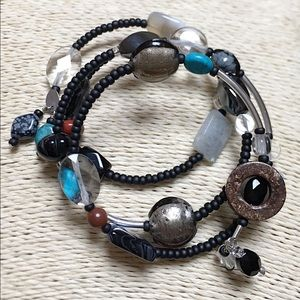 SILPADA Sterling Black Multi-Stone Wrap Bracelet